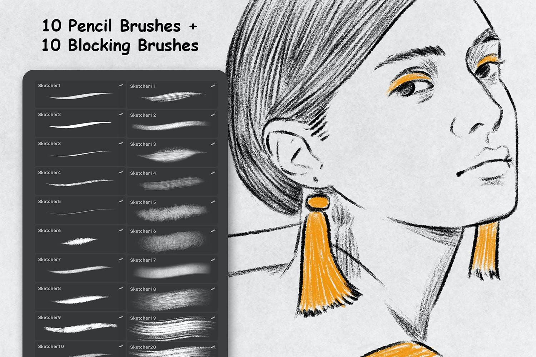 素描铅笔绘画效果Procreate笔刷下载 Sketcher Brushes – Procreate Brush插图(1)