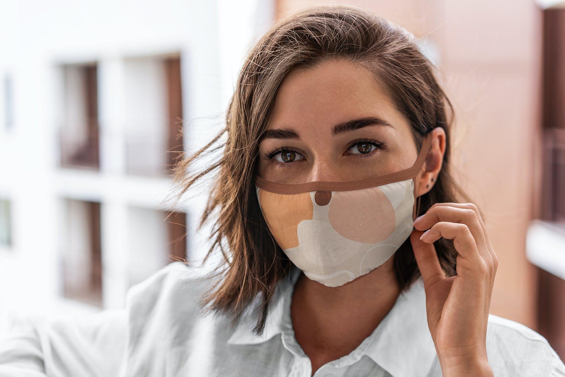 17款防护面罩口罩印花设计展示样机模板 Face Mask Mockup Edges Model插图(1)