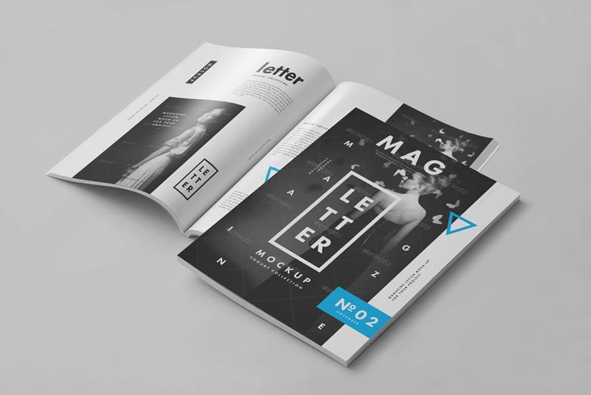 9款杂志画册目录设计展示样机模板 US Letter Magazine Mockup 2插图(1)