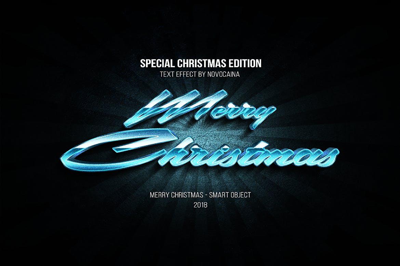 金属质感立体效果圣诞文字PS样式模板 Christmas Text Effects插图(1)