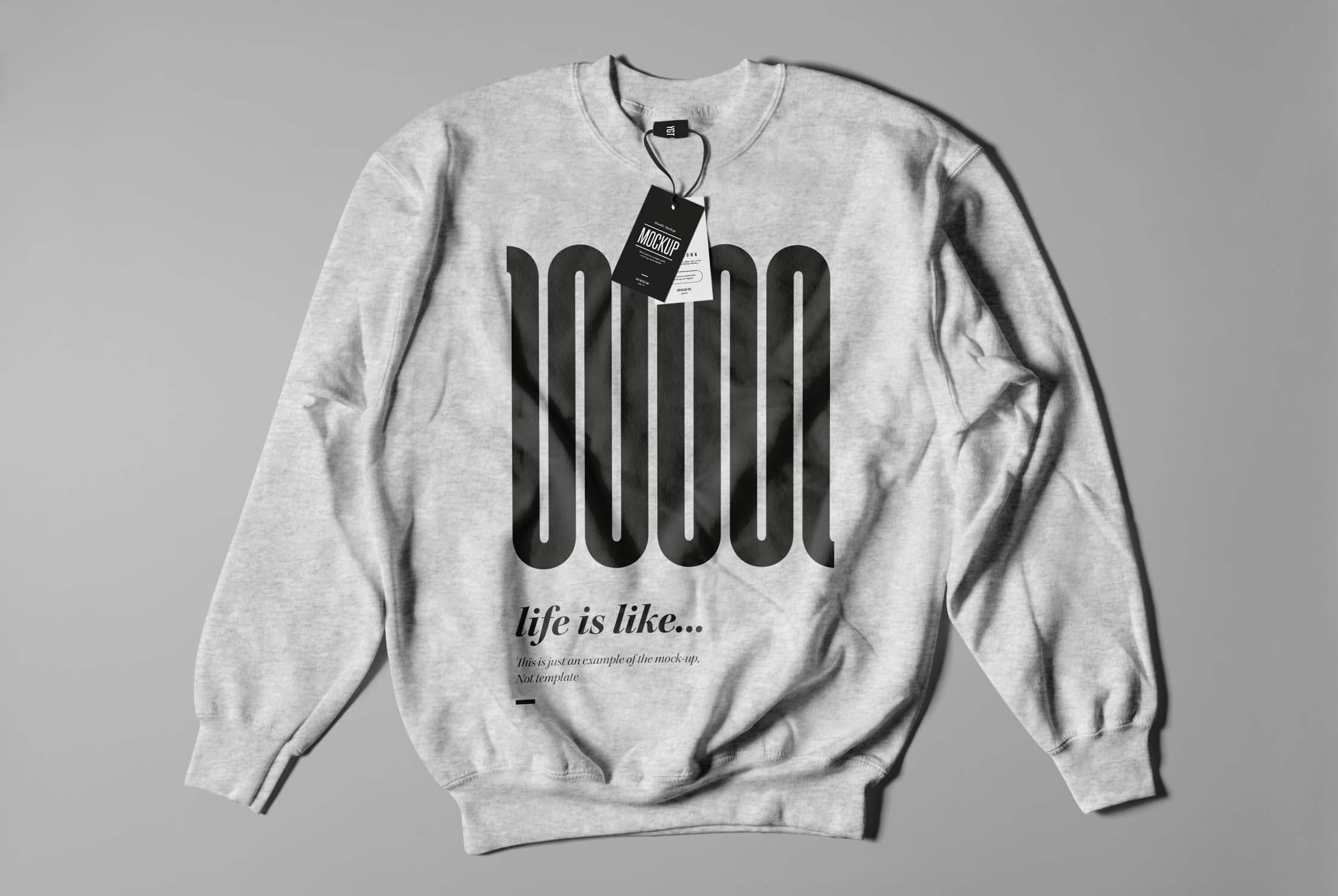 6款圆领毛衣印花设计展示样机模板 Crewneck Sweater Mockup插图(1)