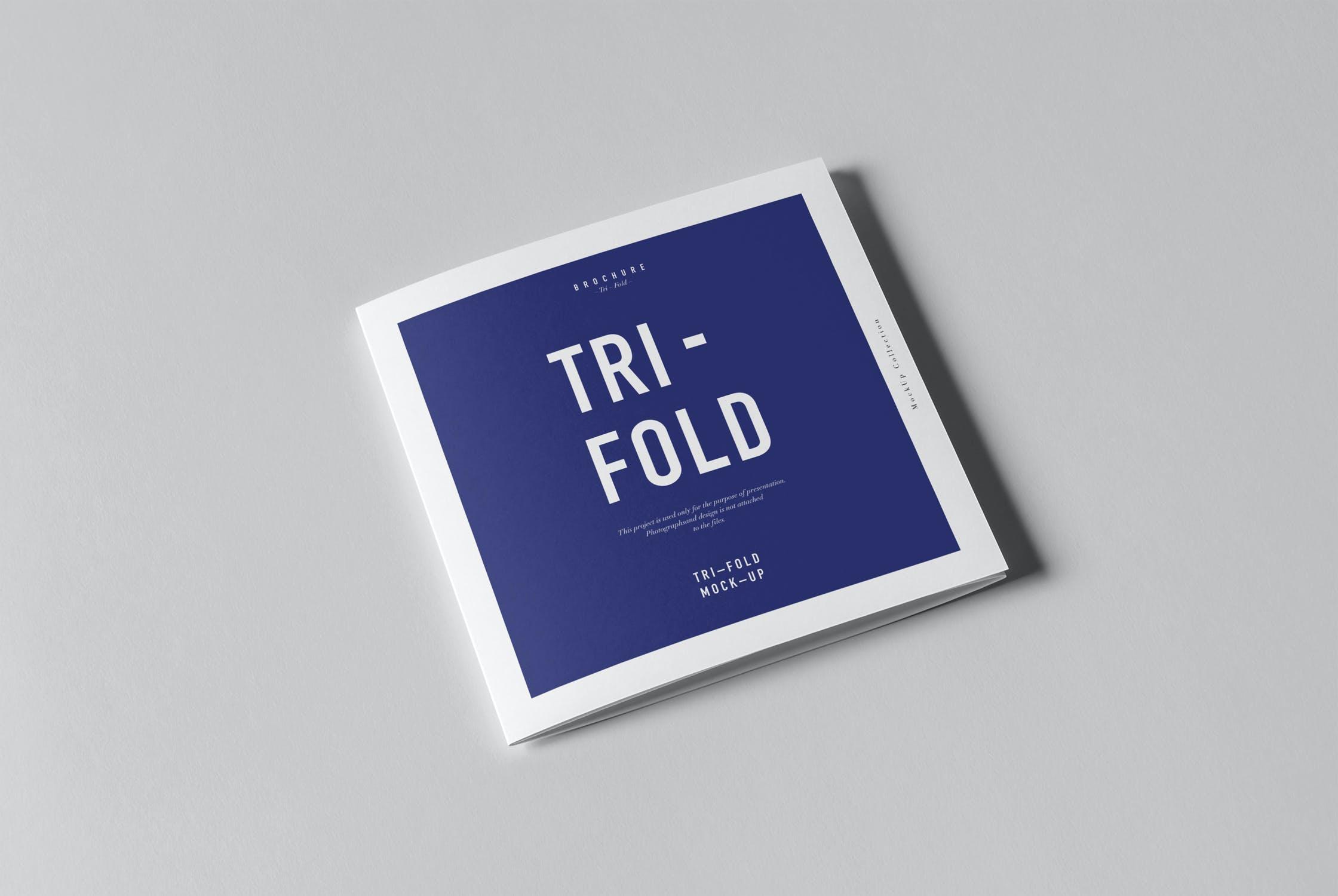 8款三折页小册子设计展示样机模板 Tri-Fold Square Brochure Mockup插图(1)