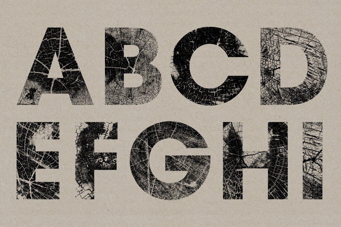 高清木纹字母符号背景纹理素材 Wood Grain Type插图(1)