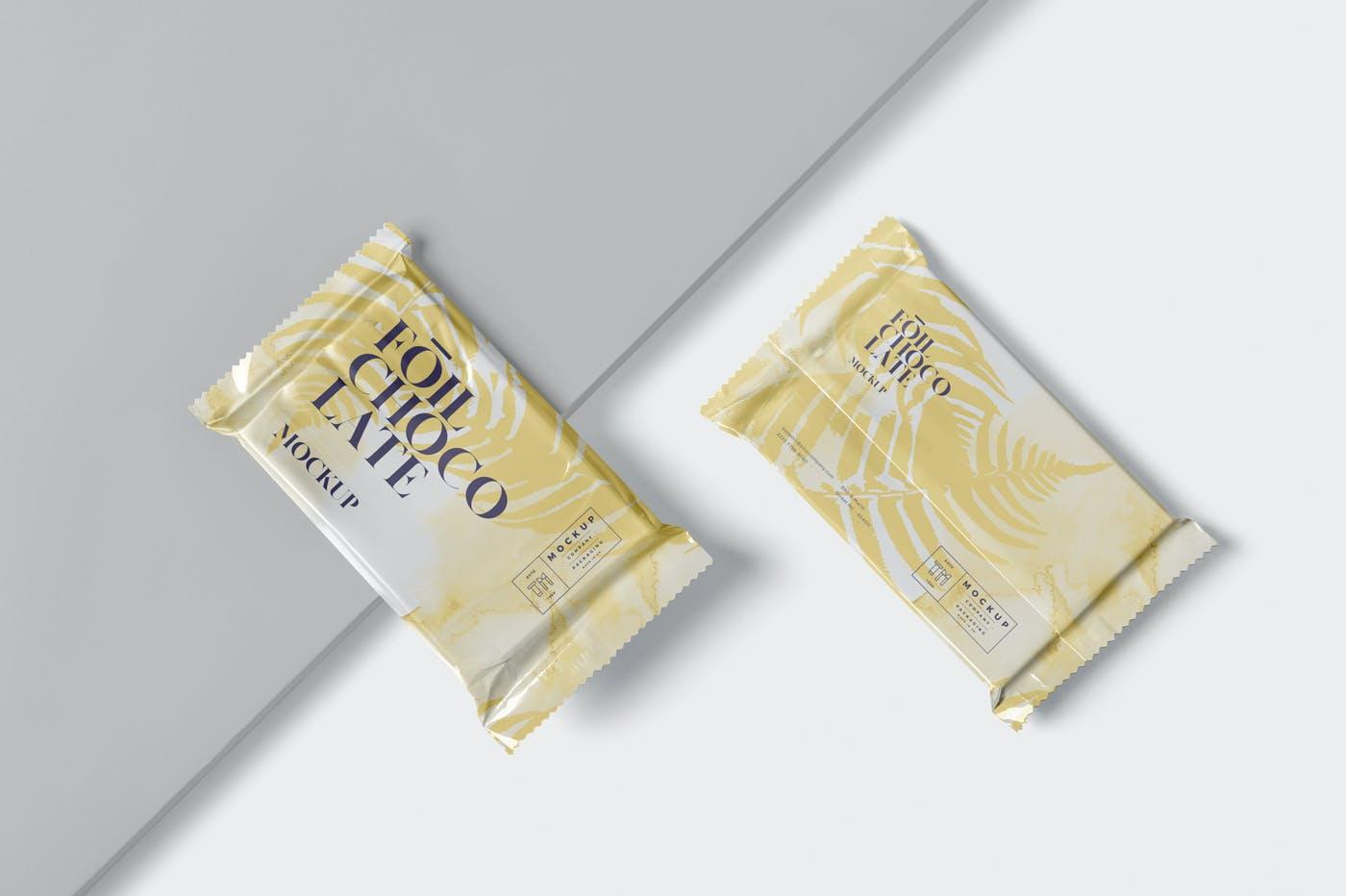 精美铝箔巧克力包装袋设计展示样机 Foil Chocolate Packaging Mockup – Slim Size插图(1)