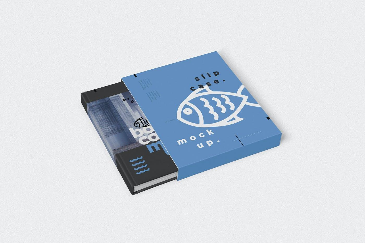 5款带外壳精装书设计展示样机模板 Book Cover & Slide Case Mockups插图(1)