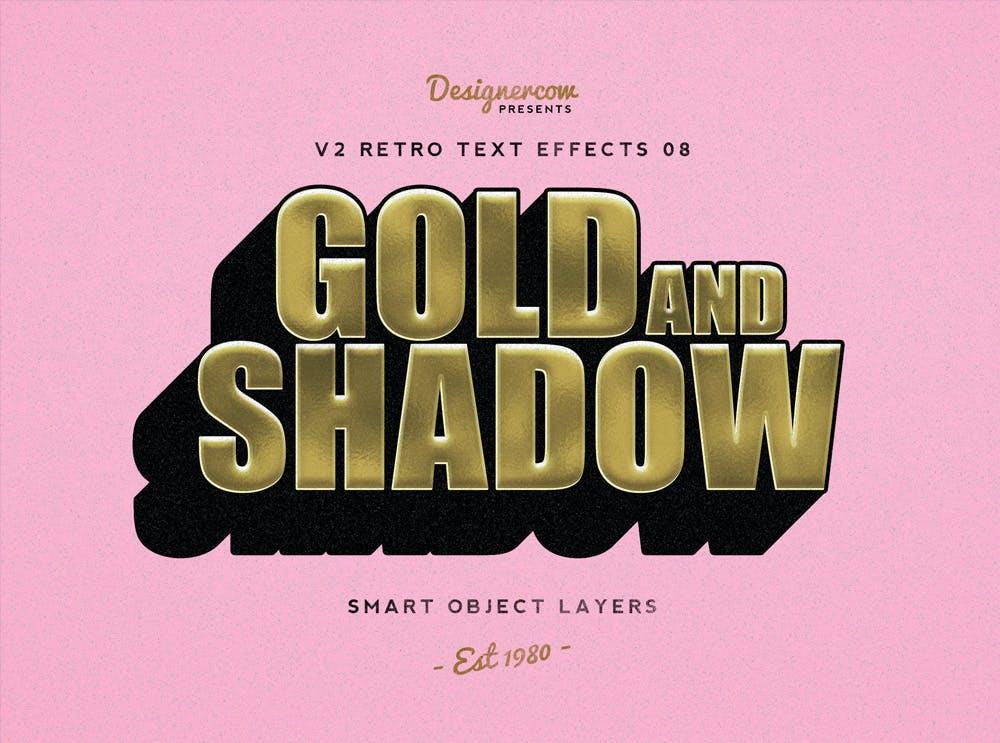 10款复古3D立体效果徽标标题字体设计PS样式模板 Retro Text Effects V2插图(1)