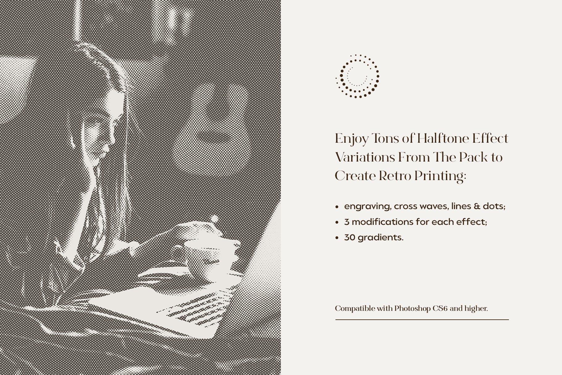 复古雕刻半调横纹波点效果Ps图片生成样式模板 Engraving & Halftone Effect Creator插图(1)