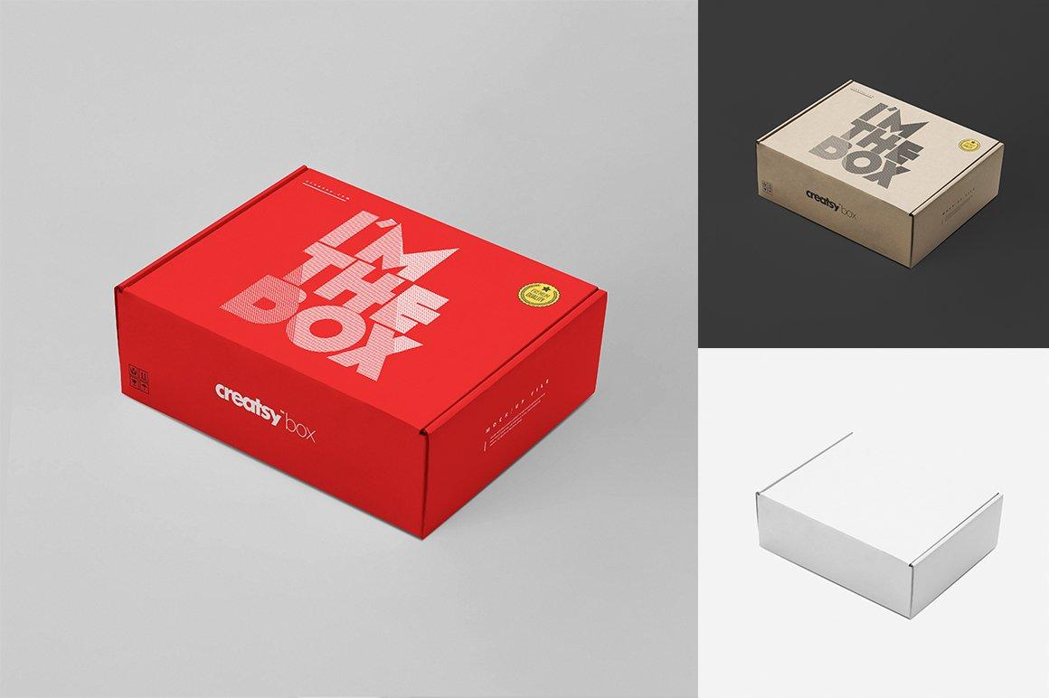 快递包裹纸盒外观设计展示样机集 Mailing Box Mockup Set插图(1)