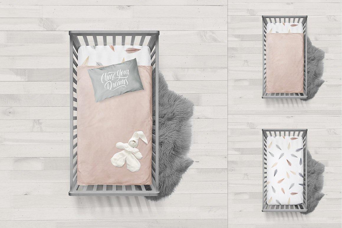 婴儿床床上用品场景样机水彩 Crib Bedding Mockup插图(2)