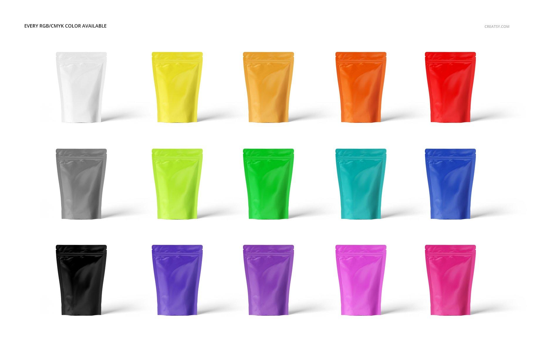 铝箔自立袋自封袋包装袋多角度PSD样机模板 Stand Up Pouch Mockup插图(2)