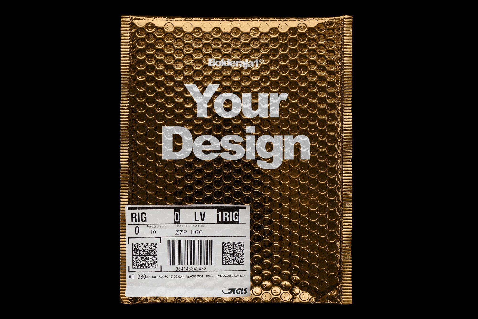 潮流金属铝箔气泡防震邮寄包装袋设计智能贴图样机模板 Gold Plastic Bag Mockup插图(2)