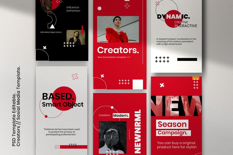 时尚潮流品牌推广新媒体海报设计PSD模板 Creator – Dynamic Social Media Brand插图(1)
