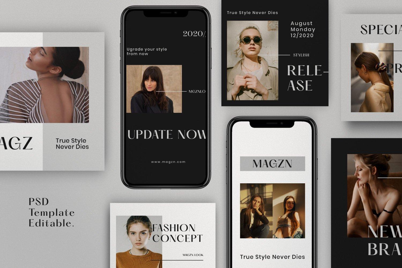 时尚服装品牌摄影推广新媒体海报设计PSD模板 MAGZ – Fashion Brand Social Media插图(2)