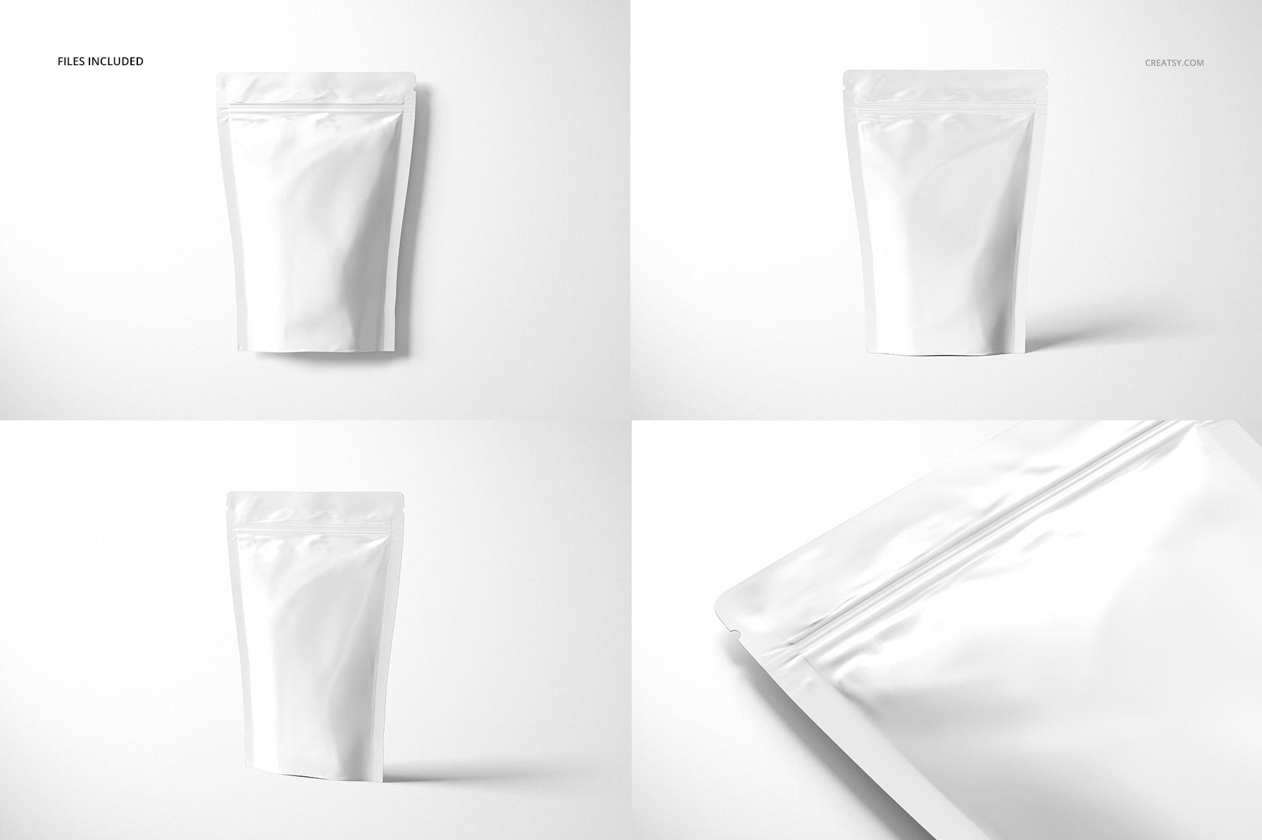 铝箔自立袋自封袋包装袋多角度PSD样机模板 Stand Up Pouch Mockup插图(3)