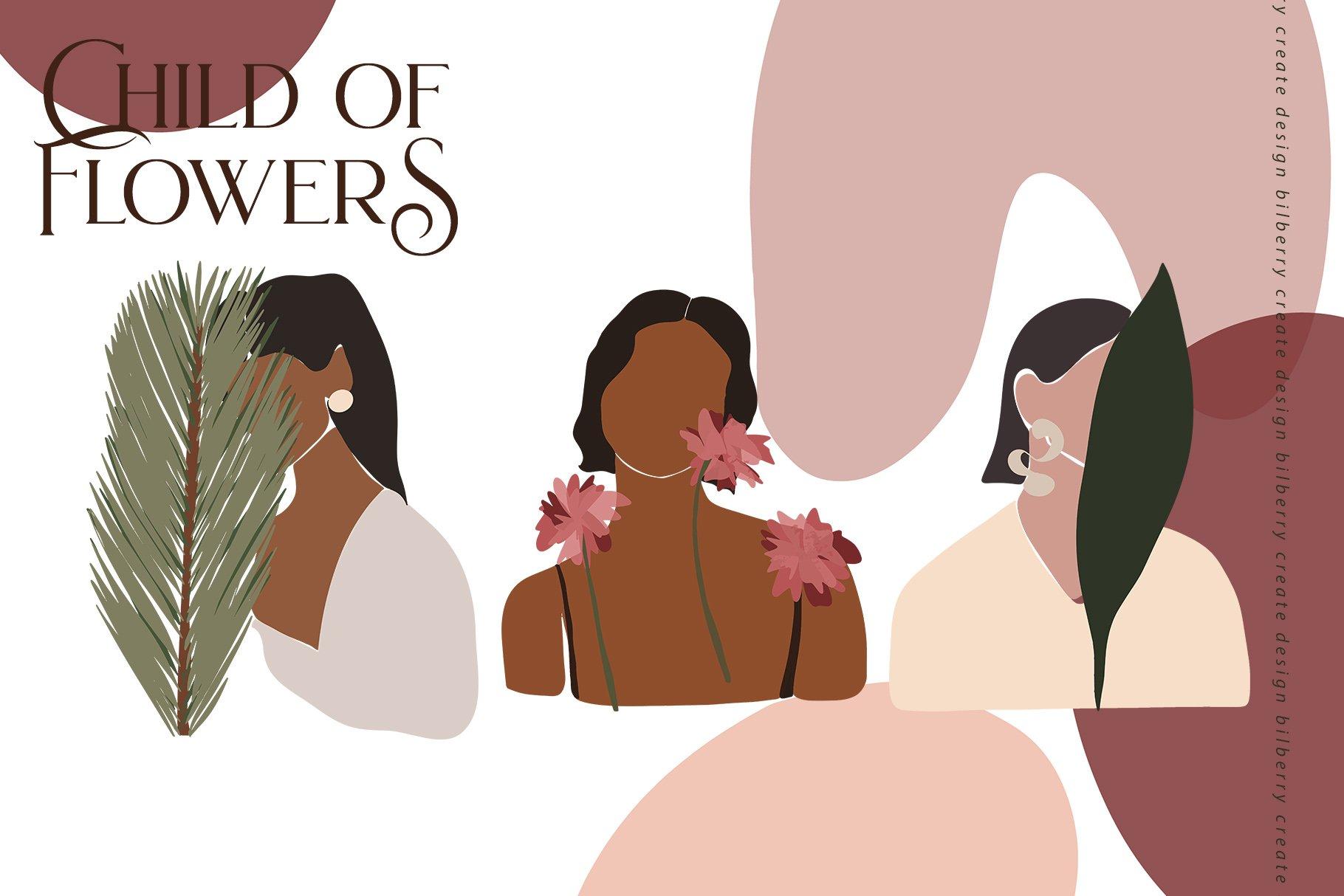 85多个抽象女孩风景形状矢量图案素材 Child Of Flowers Abstract Portrait插图(2)