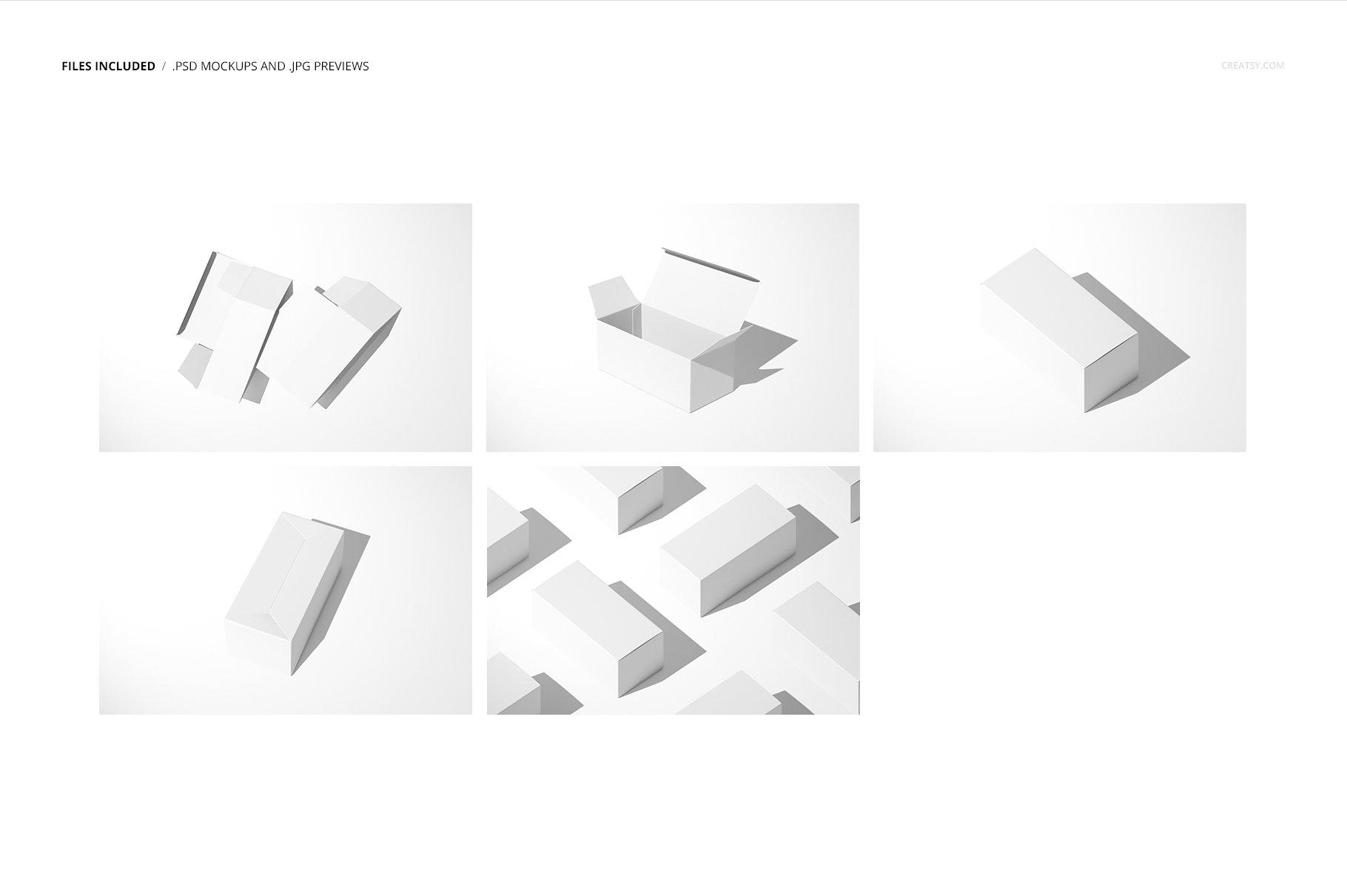 长矩形产品包装卡扣锁底纸盒样机集 Snap Lock Bottom Box Mockup Set插图(2)