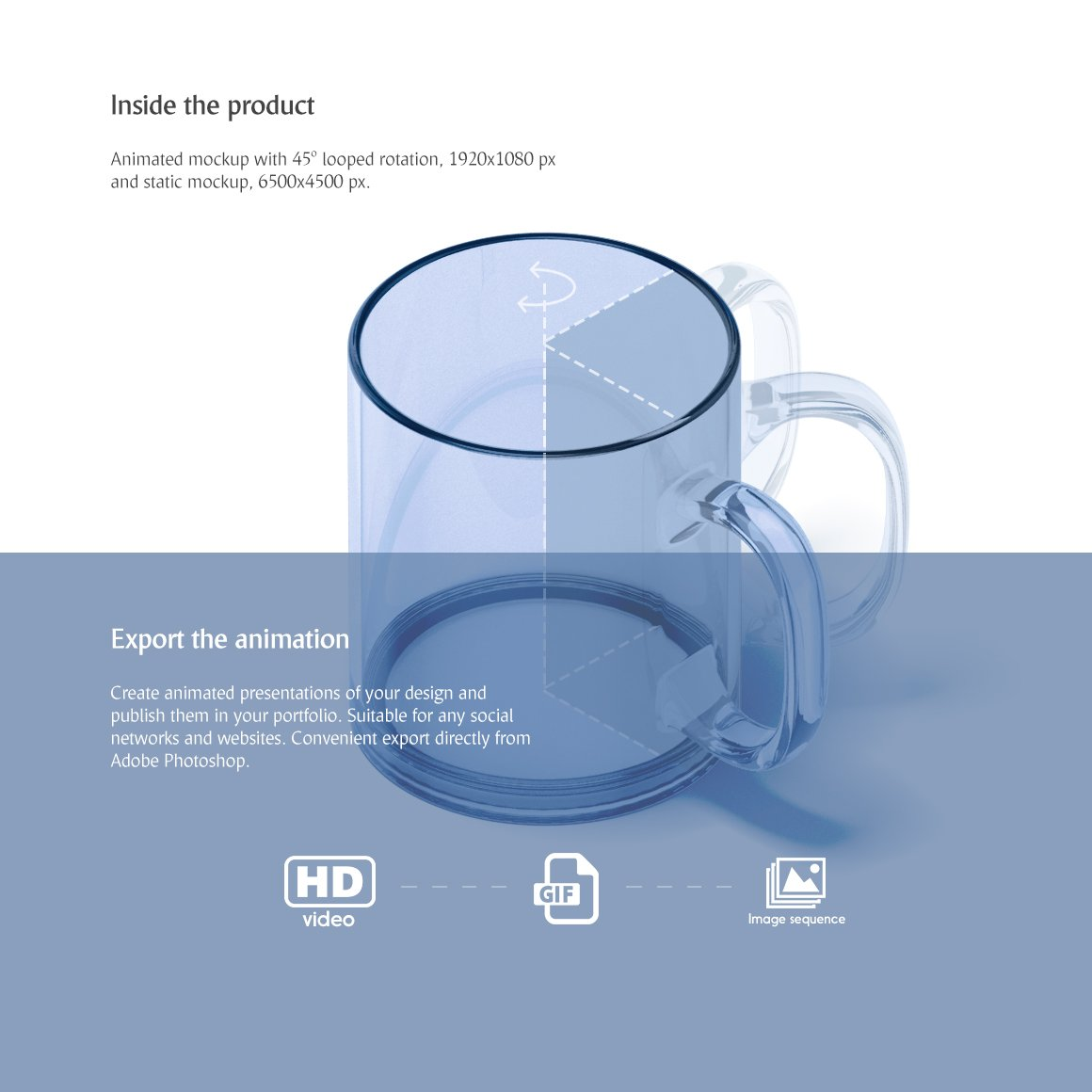 透明玻璃杯设计动态展示样机模板 New Glass Mug Animated Mockup插图(1)
