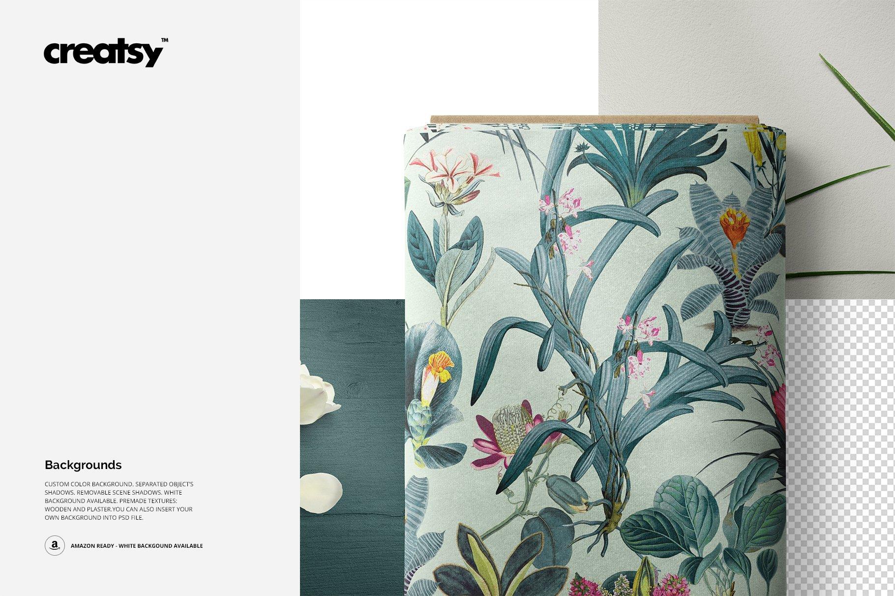 卷状织物布料印花设计展示样机 Fabric Roll Mockup 03/FF v.6插图(2)