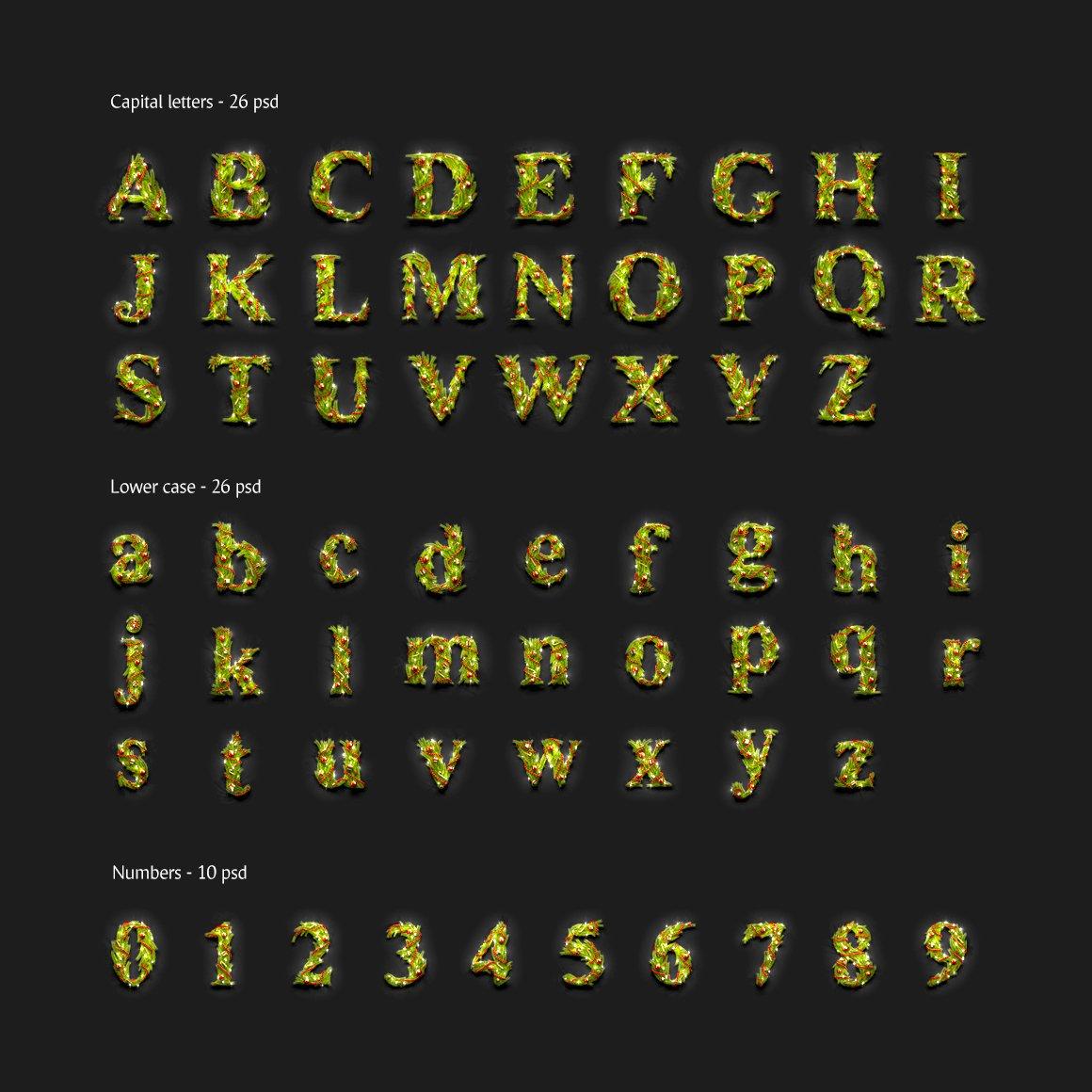 62款圣诞节主题字母数字设计动态展示PSD样机模板 Christmas Animated Typeface插图(2)