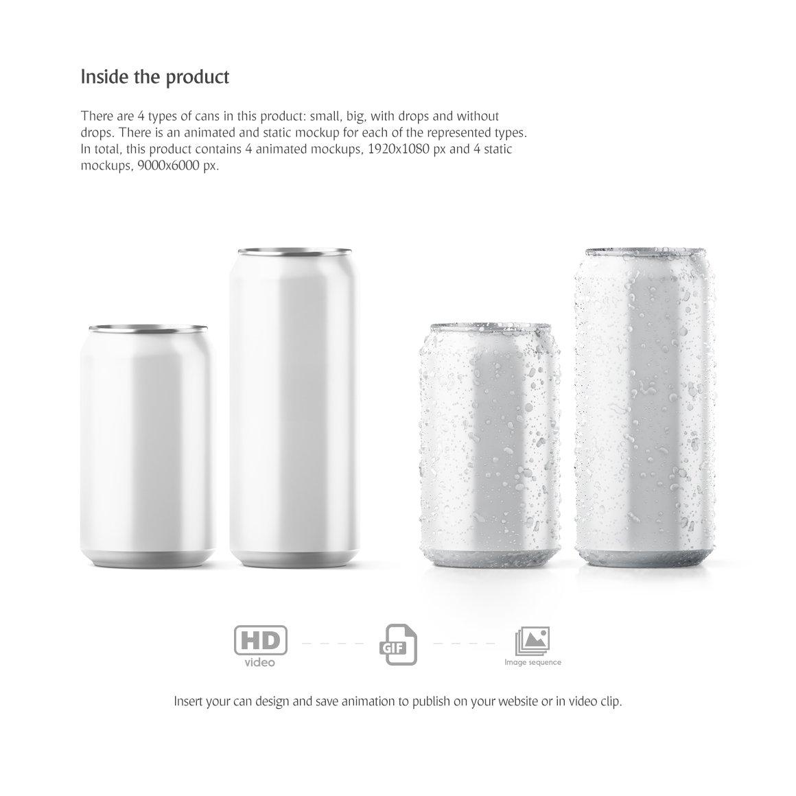 饮料汽水易拉罐锡罐设计动态展示样机 Soda Can Animated Mockup插图(2)
