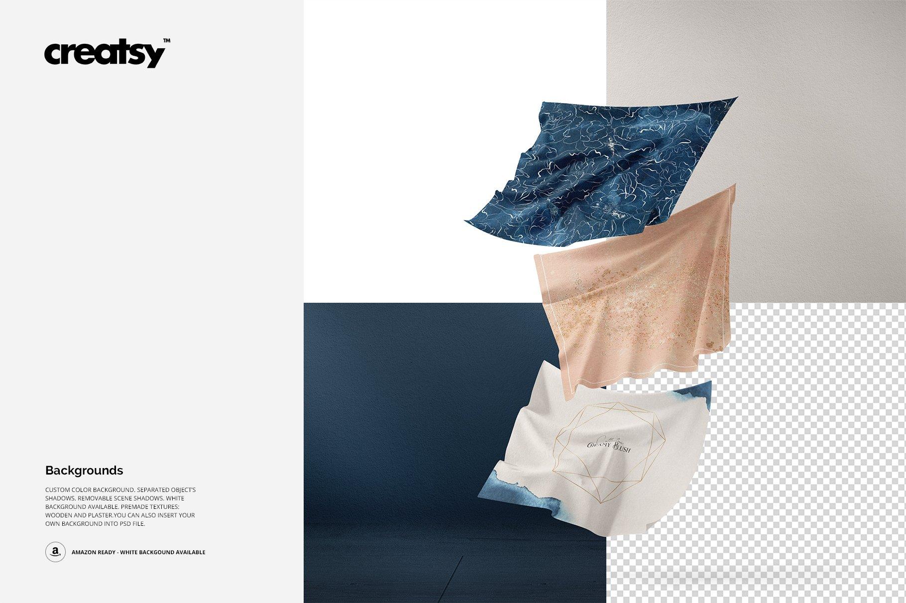 悬浮纺织物方巾印花设计展示样机 Floating Fabrics Mockup 08/FF v.6插图(2)