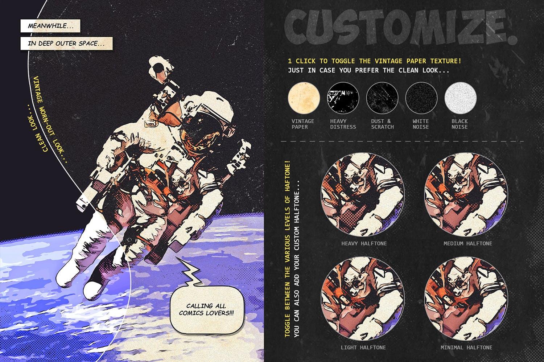 逼真复古手绘漫画效果照片后期处理特效PS动作 Retro Comic Book Photoshop Action Kit插图(2)
