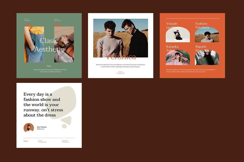 时尚服装品牌故事推广新媒体海报设计PPT模板 Vera – Instagram Post and Stories Powerpoint插图(2)