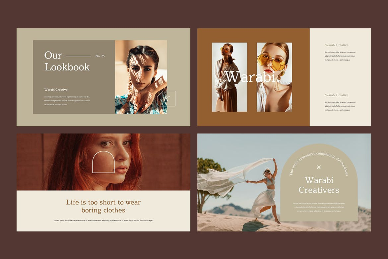 时尚服装造型设计作品集幻灯片模板 WARABI – Fashion Lookbook PowerPoint Template插图(2)