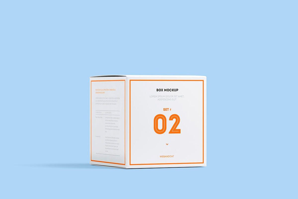 7款方形产品包装纸盒外观设计展示样机模板 Package Box Mockup: Square Box插图(2)