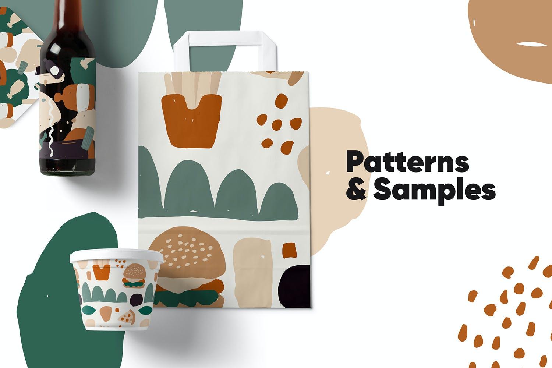 80多个抽象手绘食物包装印花矢量图案素材 Food Abstract Backgrounds & Patterns插图(2)