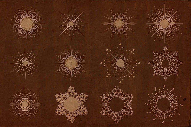24款森伯斯特形状矢量素材 Sunbursts Shapes Vol.1插图(2)