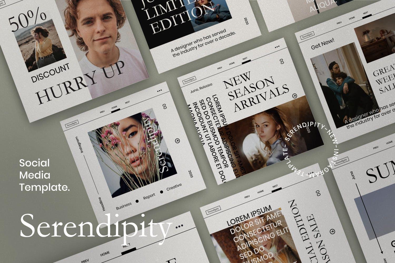 潮流品牌推广新媒体海报设计模板 Serendipity-Minimalism Social Media插图(2)