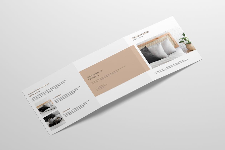 8款方形三折页小册子设计样机 Square Trifold Brochure Mockup插图(2)
