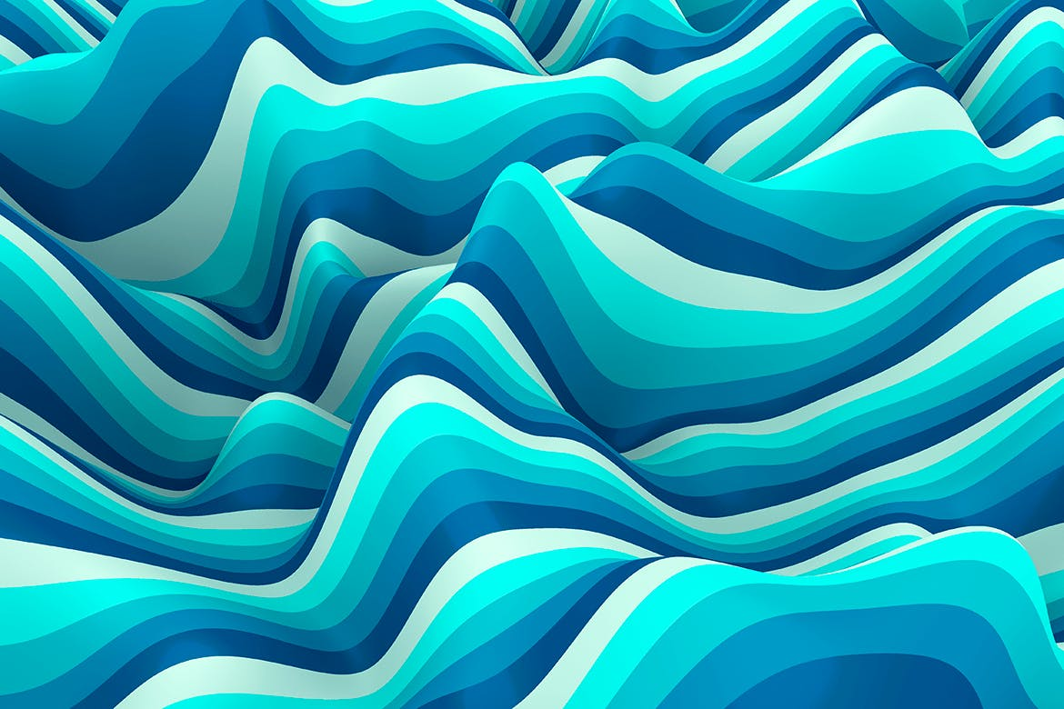 10款高清抽象多彩3D条纹波背景PNG图片素材 Multi-colored Striped Waves Backgrounds插图(2)