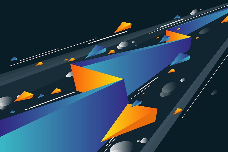 多彩抽象几何闪电矢量背景素材 Geometric Lightning Backgrounds插图(2)