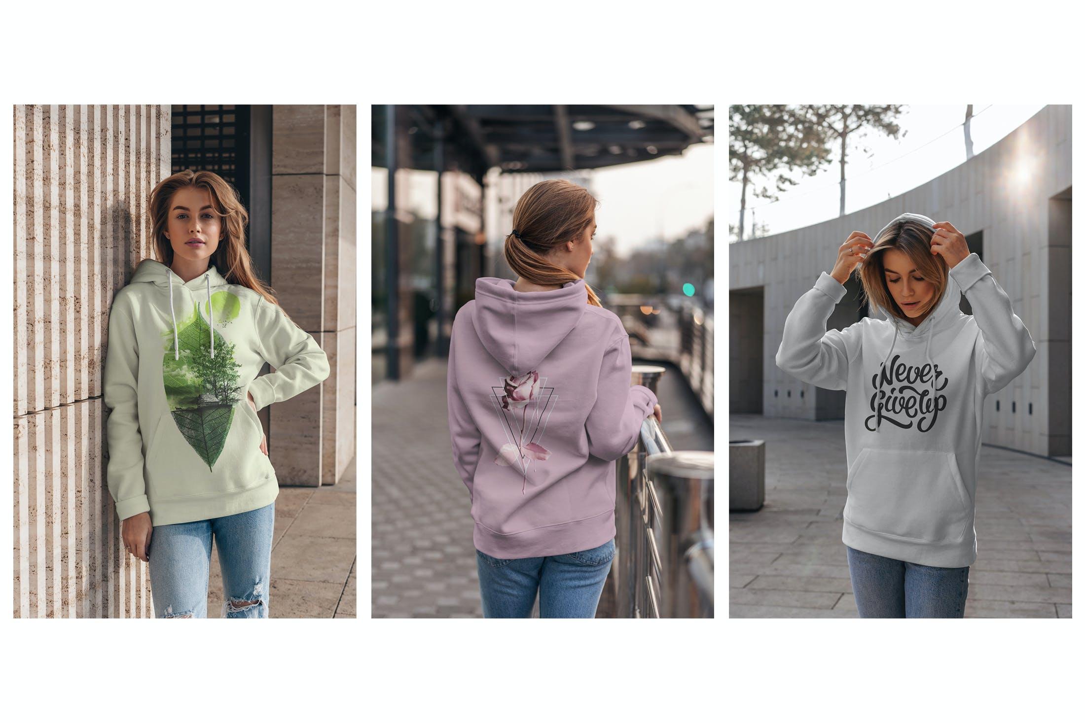 15款女孩连衣帽卫衣印花设计展示样机 Hoodie Mockup Street Fashion插图(2)