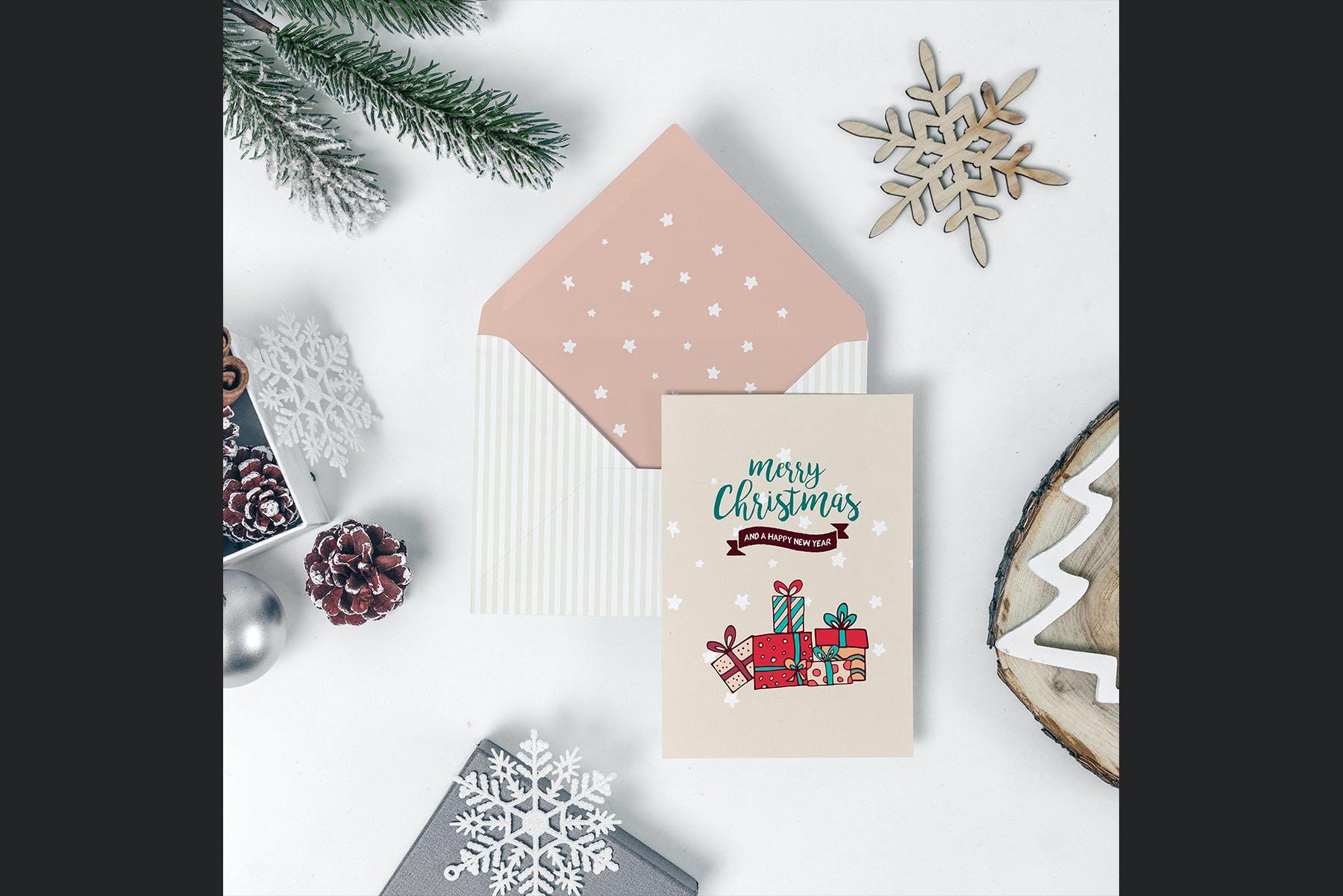 9款圣诞节贺卡邀请函设计展示样机合集 Christmas Mockup Collection Vol.2插图(2)