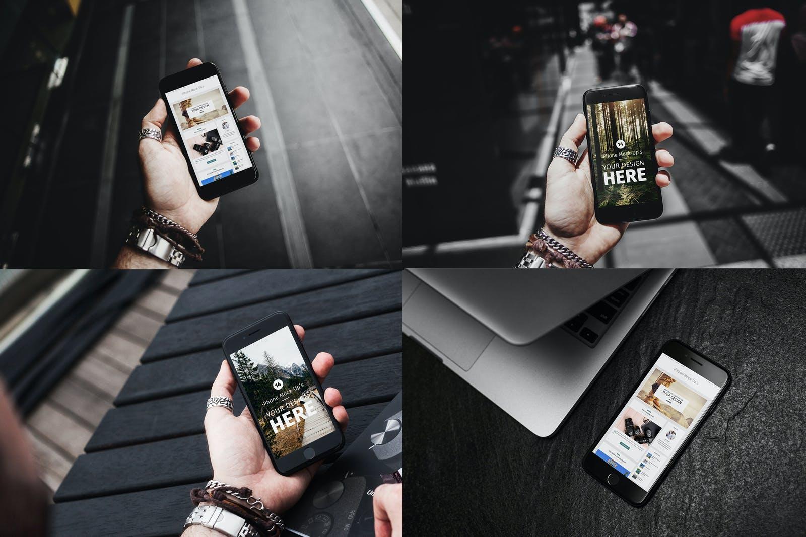 14款APP应用界面设计iPhone 7屏幕演示样机模板 iPhone 7 Urban Edition插图(2)