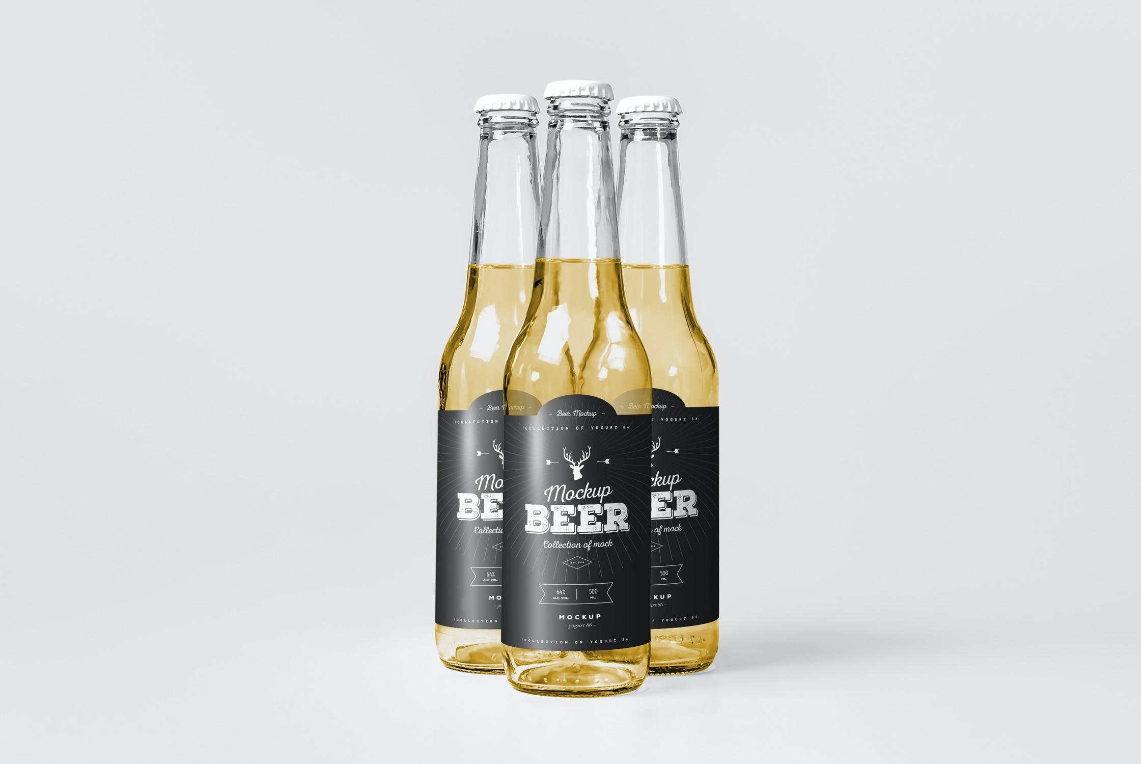 7款啤酒玻璃瓶标签设计展示样机模板 Beer Mockup 5插图(2)