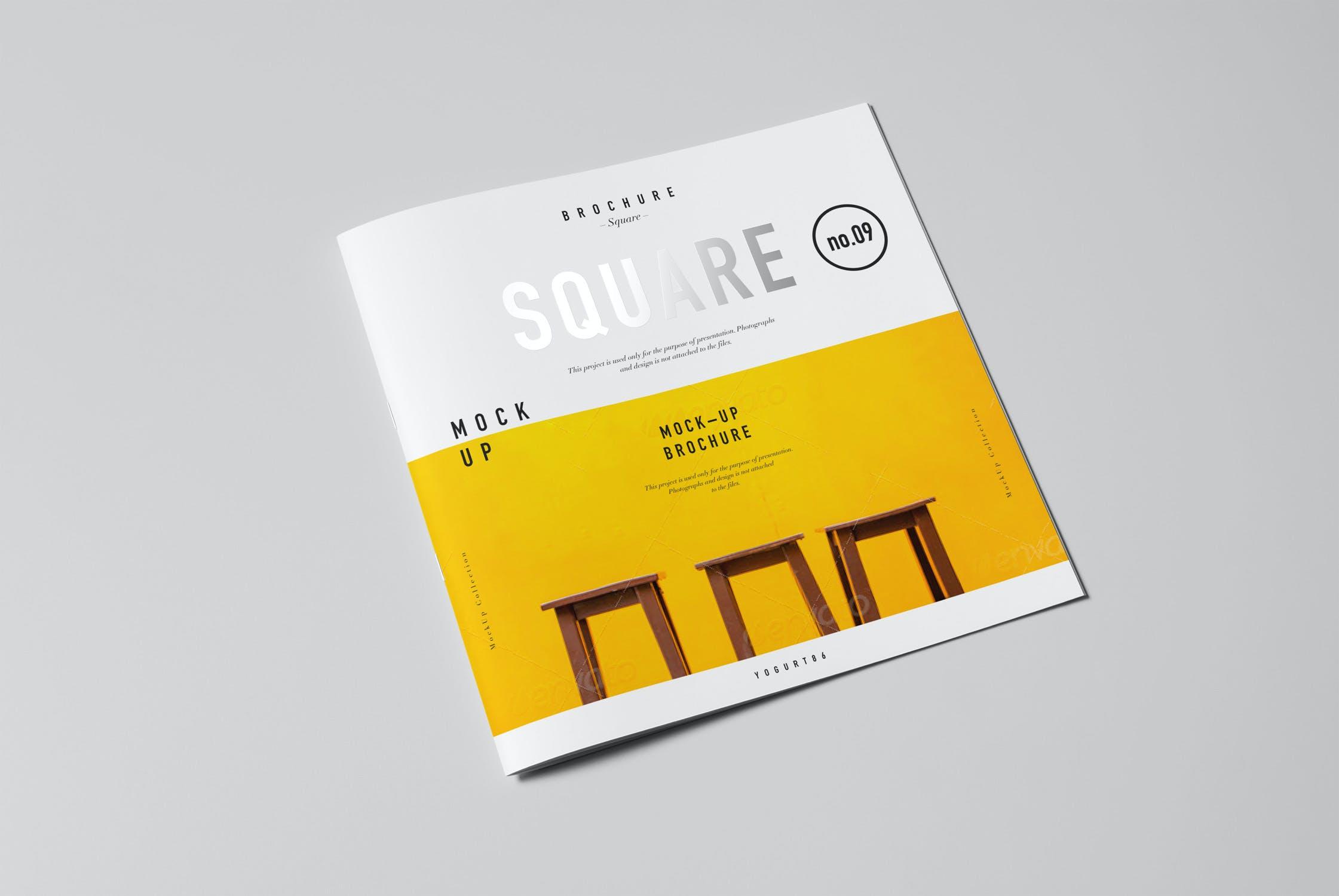 8款方形杂志画册设计展示样机模板 Square Brochure Mockup插图(2)