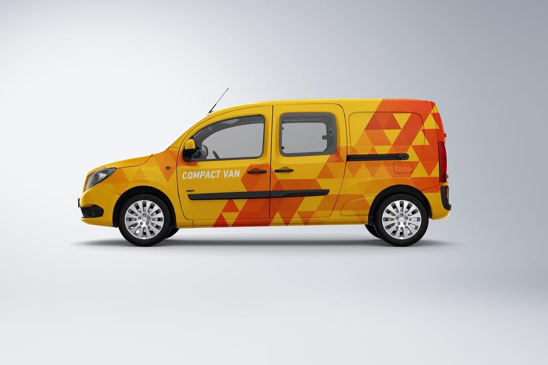 10款紧凑型面包车封闭货车车身广告设计展示样机 Compact Van Mockup插图(2)