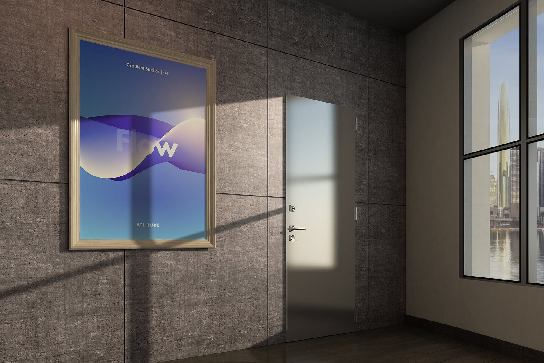 室内走廊相片艺术品海报样机模板 Gallery Mockup 3插图(2)