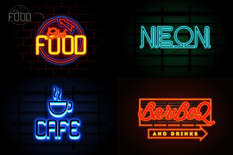 霓虹灯徽标标题文字效果AI样式模板 Neon Text Effects插图(2)