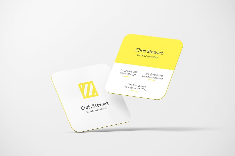 圆角方形商务名片卡片设计智能贴图样机模板 Rounded Square Business Card Mockup插图(2)