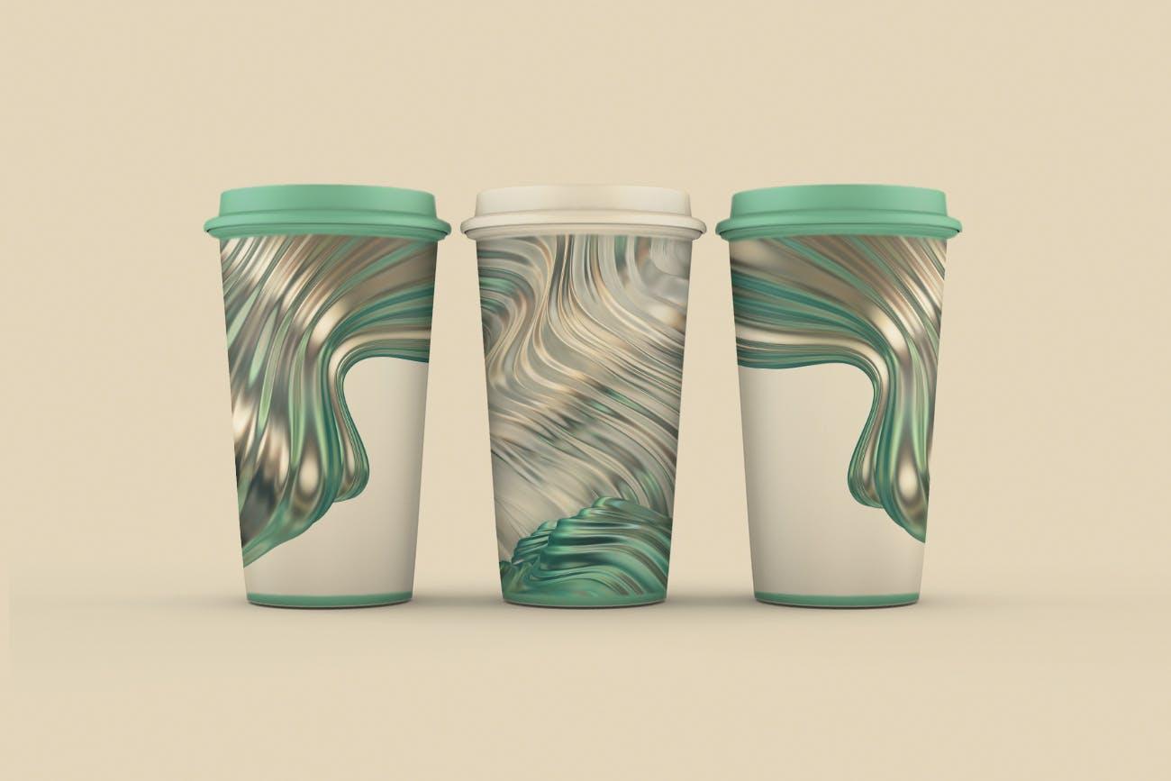 抽象3D波浪条纹金色&绿色背景素材 Abstract 3D Wavy Striped Backgrounds -Gold & Green插图(2)