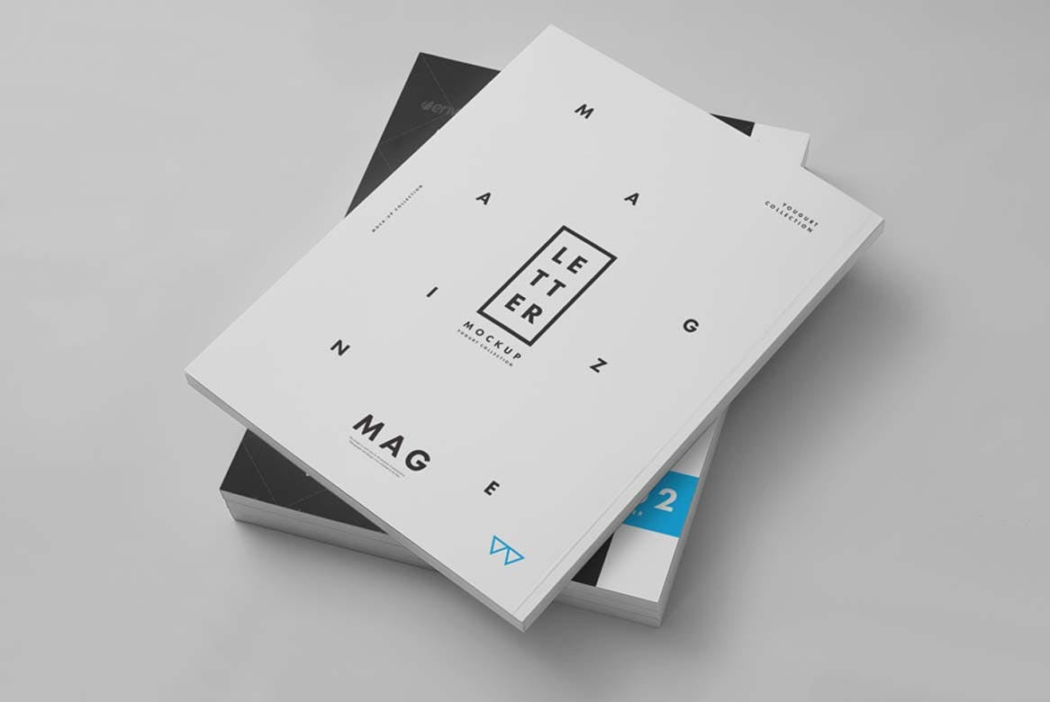 9款杂志画册目录设计展示样机模板 US Letter Magazine Mockup 2插图(2)