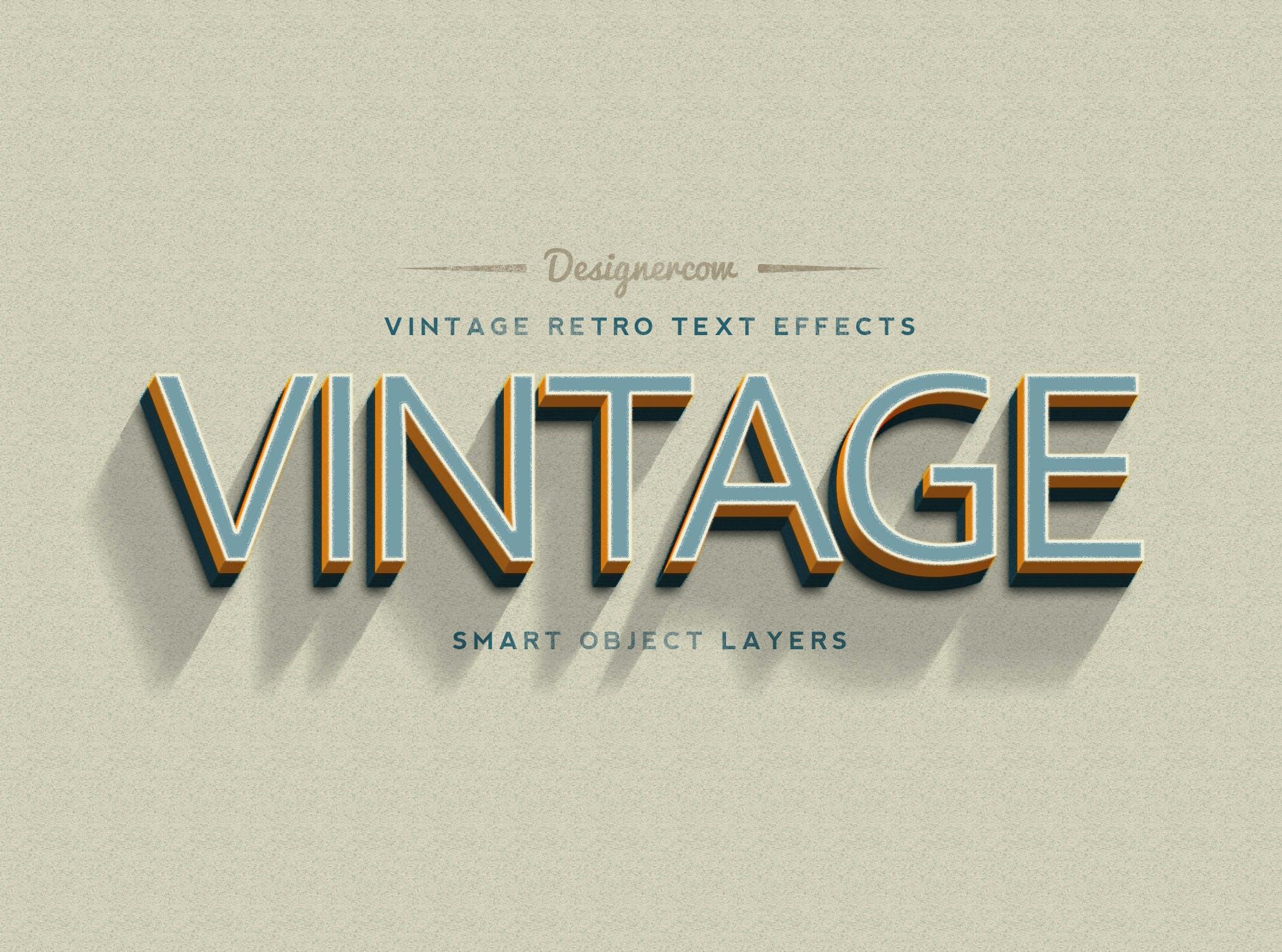 14款老式复古3D立体效果徽标标题字体设计PS样式模板 14 Vintage Retro Text Effects插图(2)