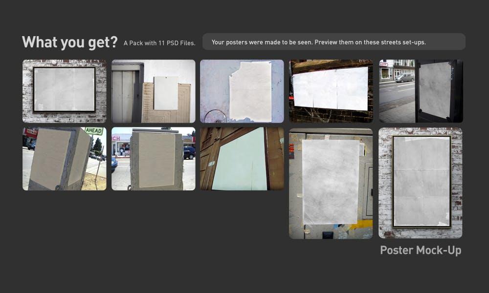 复古做旧褶皱撕裂街头墙贴海报设计展示样机模板 Poster Mockup插图(2)