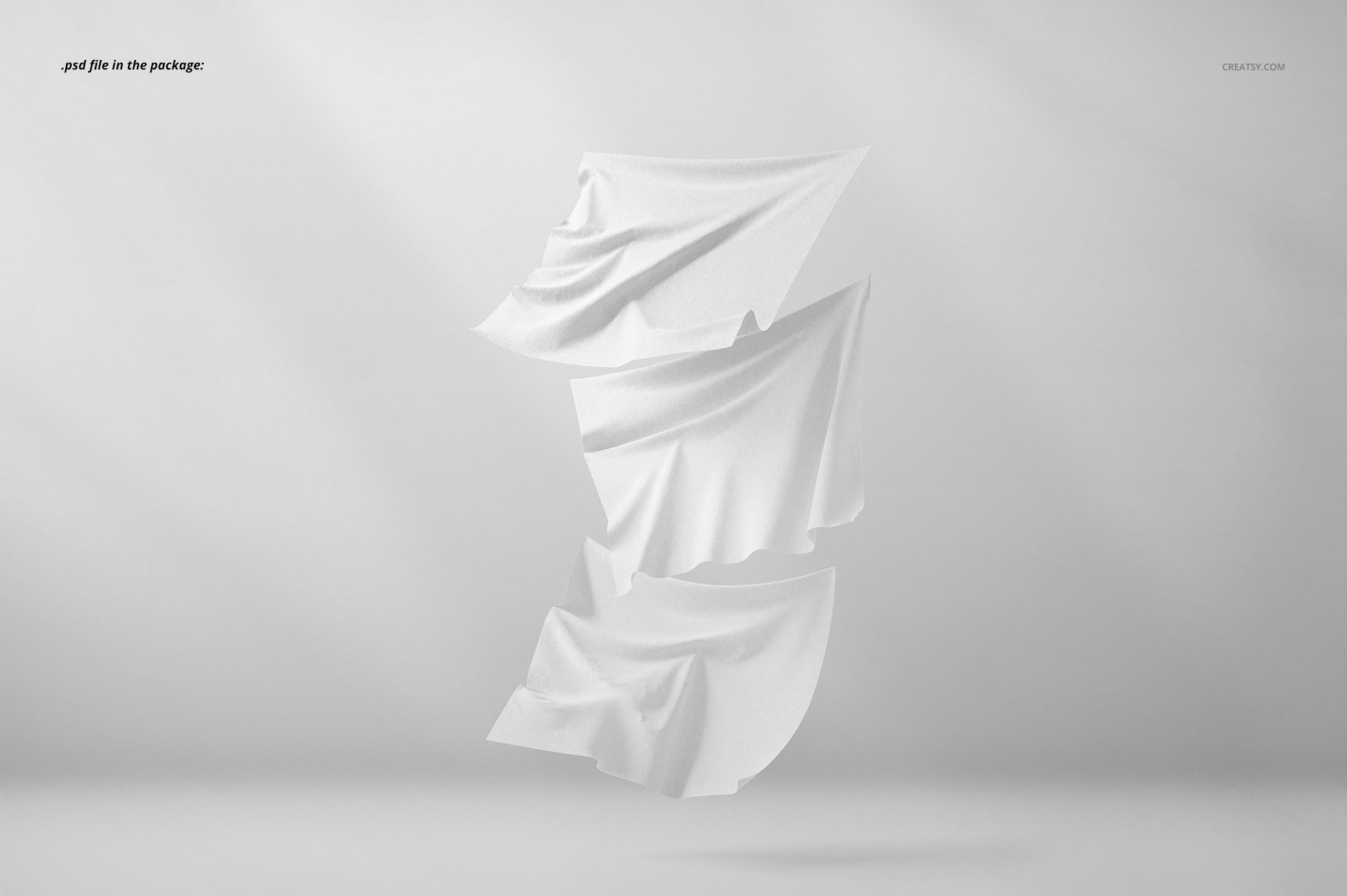悬浮纺织物方巾印花设计展示样机 Floating Fabrics Mockup 08/FF v.6插图(3)