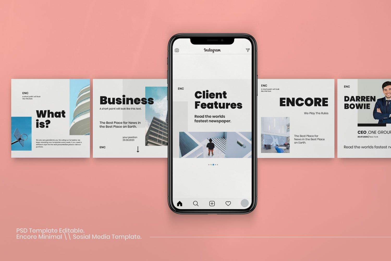 时尚简约城市摄影推广社交新媒体设计模板 ENCORE – Minimal Business Instagram插图(4)